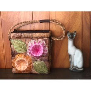 1950's vintage straw raffia floral basket purse